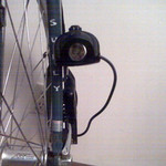 My first attempt at a front light. This one is now on my helmet. Midge's midblade rack eyelet is perfect for the task.