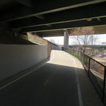 Good job carving out a path under the overpass and away from the train tracks. Details like this make an urban trail usable, as opposed forcing you to use a crosswalk.